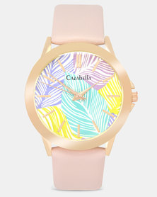 Cazabella Pink PU Strap Watch With Palm Leaf Face