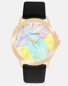 Cazabella Black PU Strap Watch With Palm Leaf Face