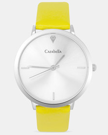 Cazabella Classic Silver Tone Watch With Yellow Strap