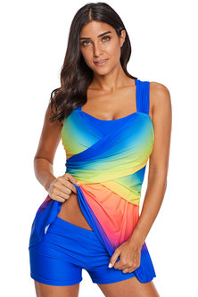 Princess Lola Boutique - Royal With A Twist Ombre Two Piece Swim Dress with Shorts
