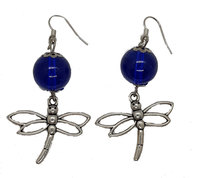 Designs by Ilana Glass Bead with Nickel Dragonfly Charms Glass Beads in Blue