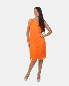 Khyris Lace Shift Dress Orange