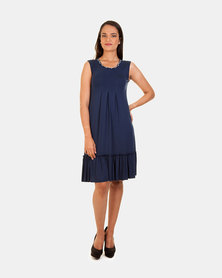Khyris Viscose FrIll Dress Navy
