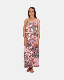 Khyris Knit Maxi Dress Pink Floral