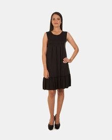 Khyris  Frill Viscose Dress Black