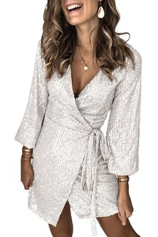Getting Glam Wrap Dress - Silver