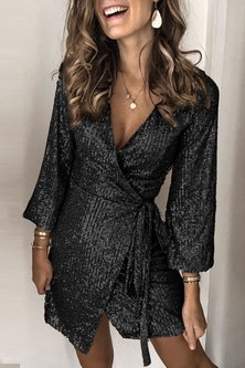 Getting Glam Wrap Dress - Black