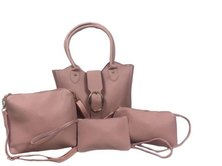 Amore Buckle 4 Piece Set Handbag Pink