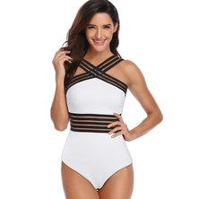 JAVING Mesh Inset Criss Cross Strap Swimsuit, White/Black
