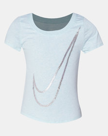 Nike Girls Scoop Shine Swooth Tee Teal