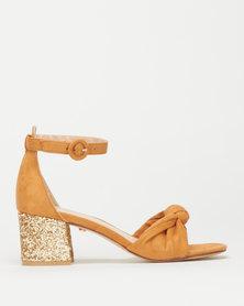 Foot Focus Tata Block Heel Sandals Tan