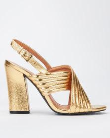 Public Desire Dust Metallic Heels Gold