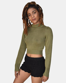 SKA Long Sleeves Crop Top Kaki