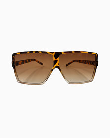 Miss Boss Sports Luxe Shield Sunglass with Animal Ombre Detail in Brown