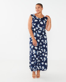 Revenge Plus Size Sleeveless Flower Print Shift Dress Navy