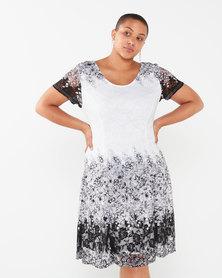Revenge Plus Size Flared Dress White