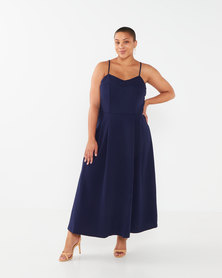 Revenge Plus Size Strappy Midi Dress Navy