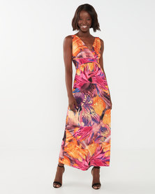 Queenspark Sleeveless Knit Cross Over Detail Knit Dress Multi