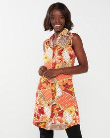 Queenspark Sleeveless Collared Shirt Dress Knit Top Multi