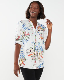 Queenspark Fresh Bouquet Linen/Viscose Woven Shirt Multi