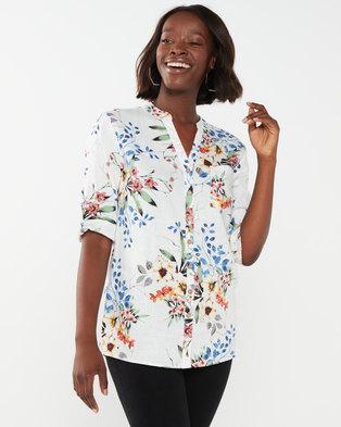 Queenspark Fresh Bouquet Linen/Viscose Woven Shirt Multi
