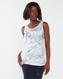 Queenspark Leaf Design Sleeve Less Woven Blouse Blue