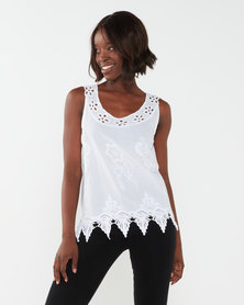 Queenspark Special Cami Cutout Woven Sleeveless Blouse White