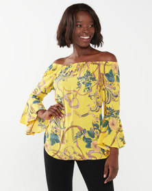 Queenspark Chain Design Marilyn Woven Blouse Yellow
