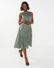 Queenspark Stretch Lace Fit And Flare Knit Dress Sage
