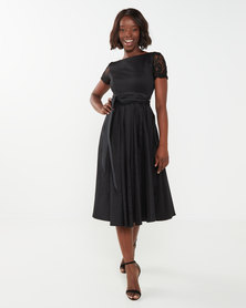 Queenspark Taffeta Combo Woven Flare Dress Black