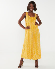 Queenspark Stipple Maxi Viscose Woven Sleeveless Dress Mustard