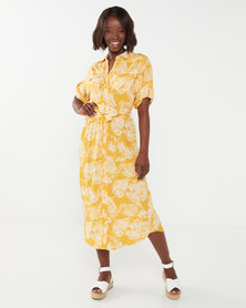 Queenspark Printed Button Through Woven Dress Mustard
