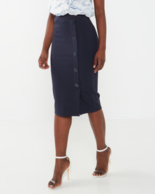 cath.nic By Queenspark  Bodycon Button Detail Knit Skirt Navy