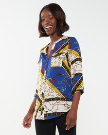 cath.nic By Queenspark Chain Print Woven Blouse Multi