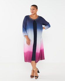 Queenspark Plus Collection Ombre Overlay Beaded Woven Dress Navy