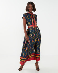 Miss Cassidy By Queenspark Chain Print Woven Dress Navy