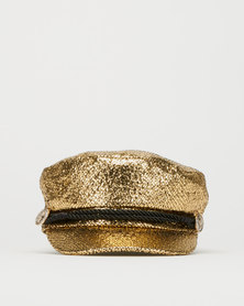 Queenspark Metallic Marine Hat  Gold