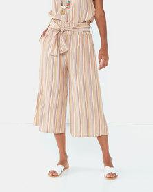 UB Creative Georgette Stripe Capri Pants Gold Mix