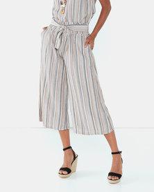 UB Creative Georgette Stripe Capri Pants Stone Mix