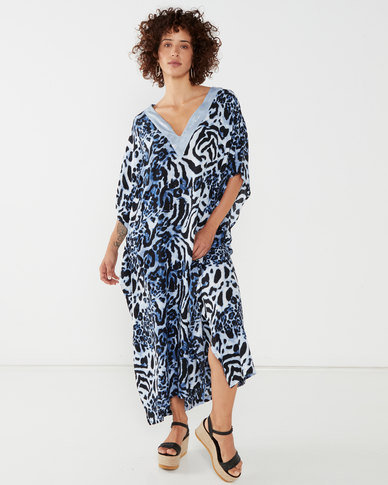 Talooshka Long Sequin Animal Print Kaftan Blue