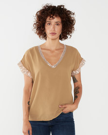 UB Creative Georgette Sequin Top Gold