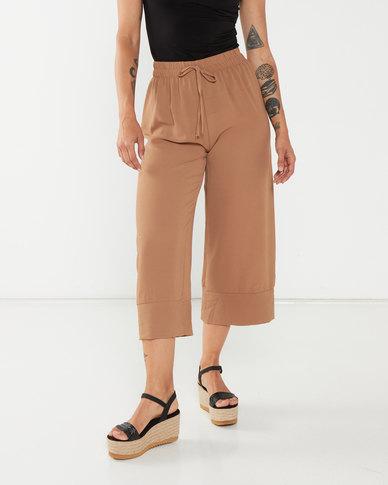 UB Creative Georgette Capri Pants Wide Hem Brown