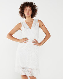 UB Creative Short Vest Lace Dress White