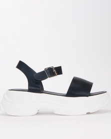 Jada Ankle Bar Chunky Sandals Black/White