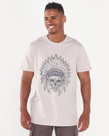 Utopia Skull Print T-shirt Stone