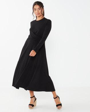 Utopia Twist Front Midi Flare Dress Black