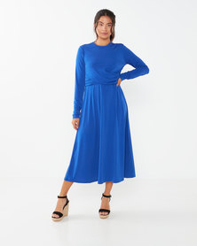 Utopia Twist Front Midi Flare Dress  Blue