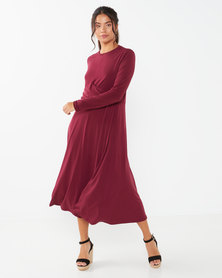 Utopia Twist Front Midi Flare Dress Burgundy
