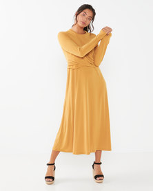 Utopia Twist Front Midi Flare Dress Mustard