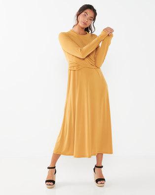 Utopia Twist Front Midi Flare Dress Mustard